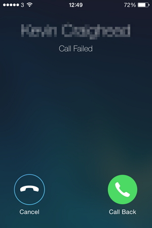 iPhone calls failed