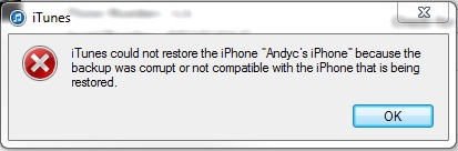 backup was corrupt or not compatible with the iPhone being restored