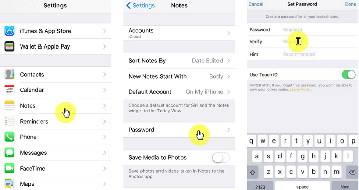 Set Up Notes Lock in Settings