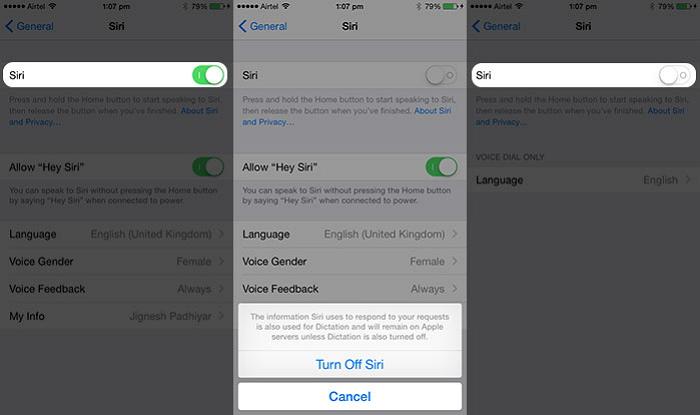 turn Siri on iPhone
