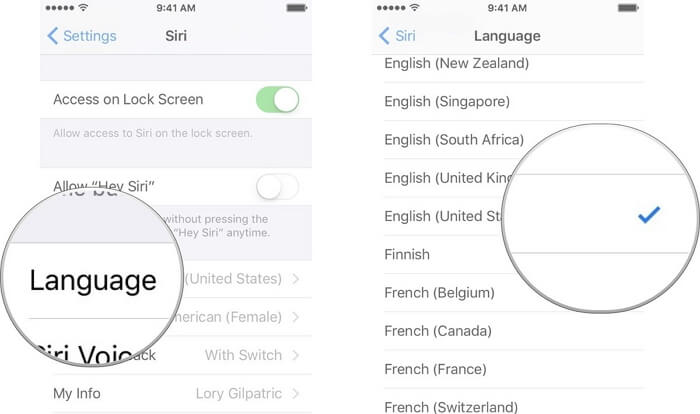 Choose Siri language
