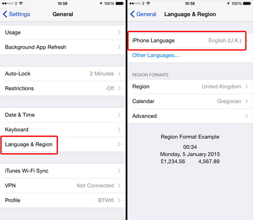 Change iPhone Language