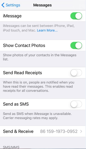 enable iMessage
