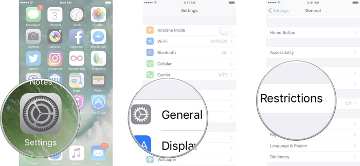 ios settings enabled restrictions iphone