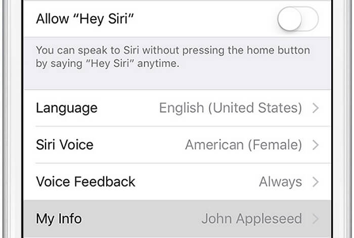 Choose Siri My Info