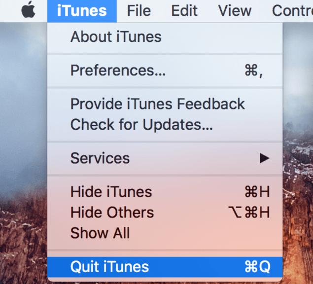 Quit iTunes