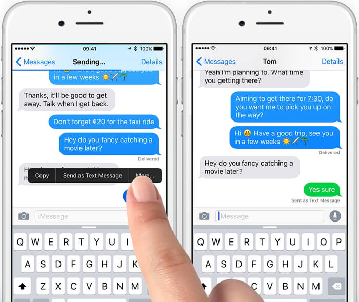 change iMessages to text message