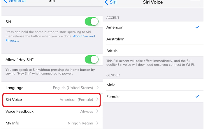 Choose Siri voice accent