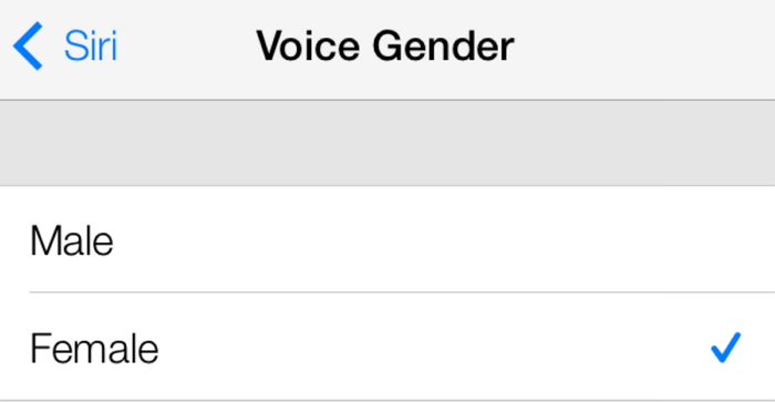 Choose Siri voice gender