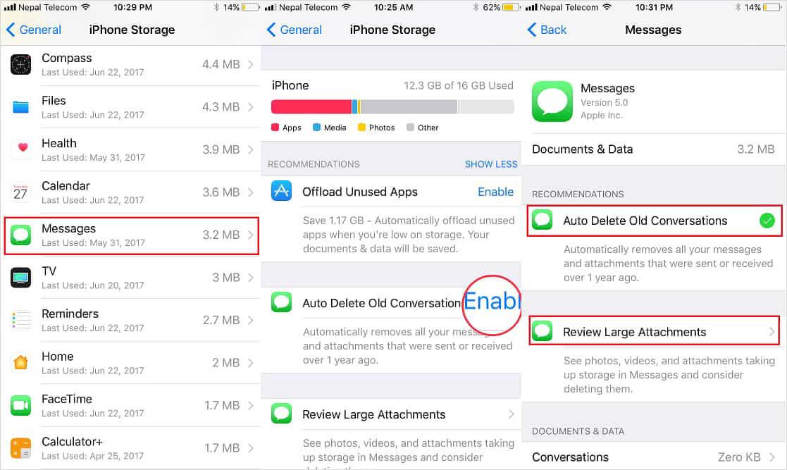 iOS 11 auto-delete old conversations