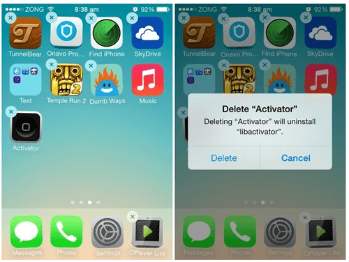 delete app in ios