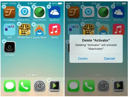 delete app on iOS 11