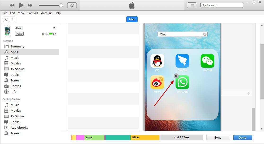 delete apps 10.3 via itunes