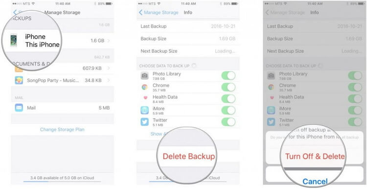 delete backups from icloud