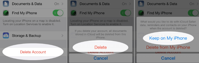 Delete iCloud Account without Password on iOS 7