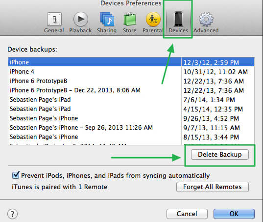 delete old iphone backup