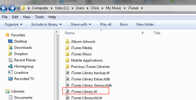 Restoring the Previous iTunes Library