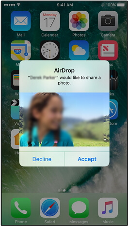 receive photos through AirDrop