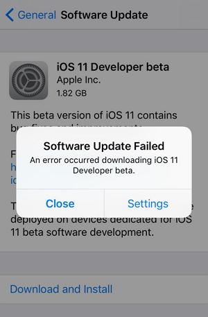 Software Update Failed error
