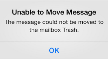 cannot move messages to mailbox trash