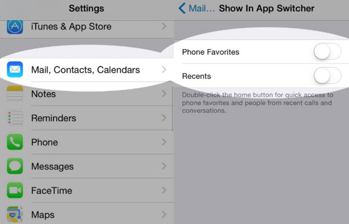 enable iPhone Recent Contacts