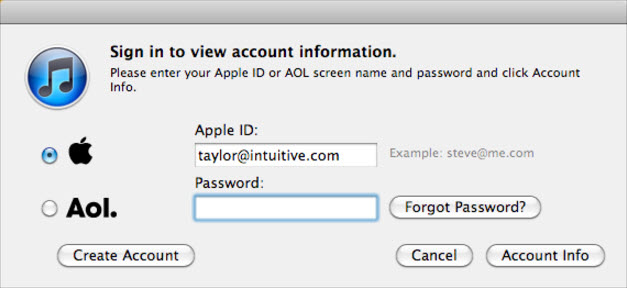 Forgotten iTunes password