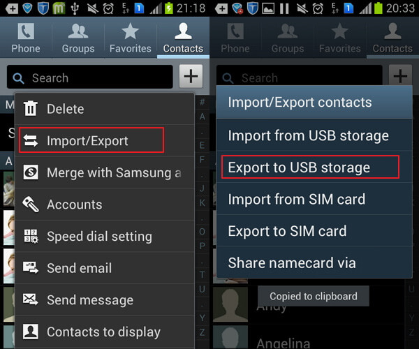 export contacts from Android
