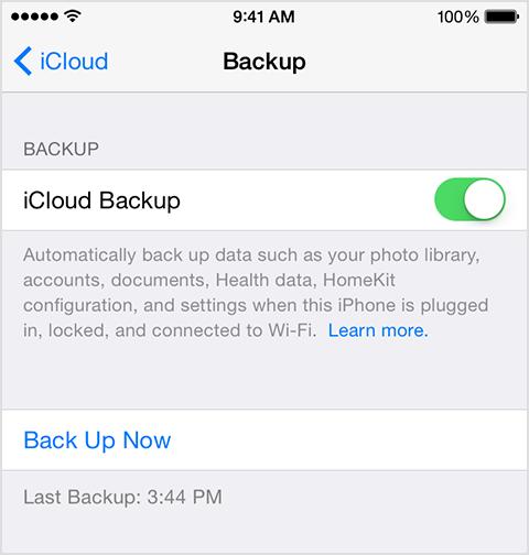 iCloud backup time