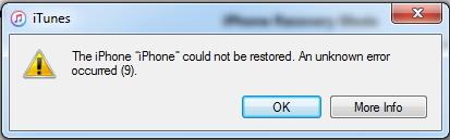 iTunes error 9