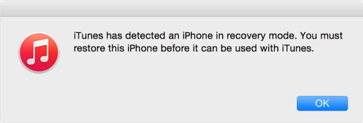 iphone in DFU mode detected by iTunes