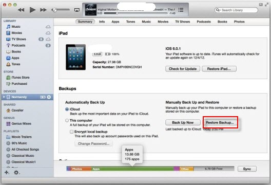 Restore iPad 2 from iTunes