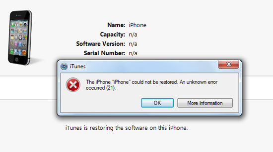 Unknown Error on iTunes
