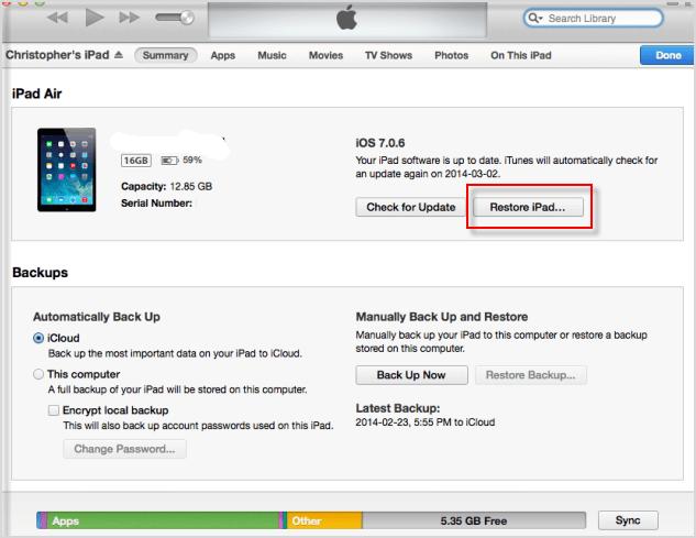 Restore iPad 2