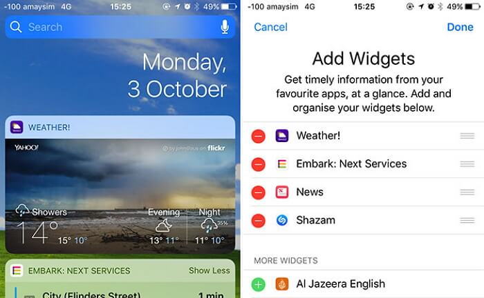 close services and app in widgets