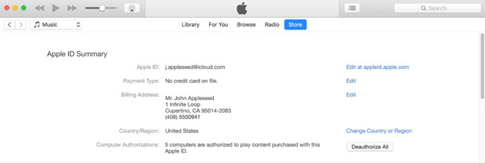 Deauthorizing an Old User on iTunes