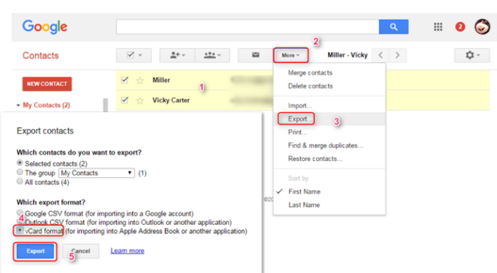 export contacts rom iCloud to google contacts