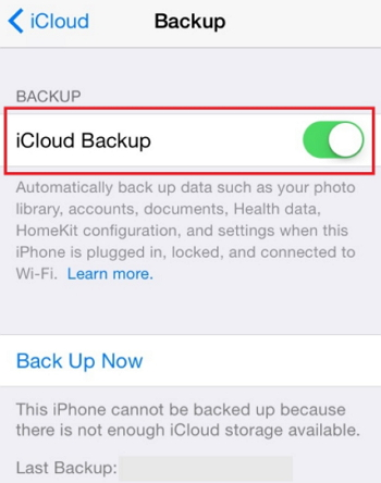 backup iphone with icloud