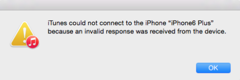 iTunes could not connect to the iPhone because an invalid response was received from the device