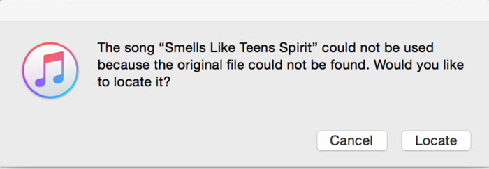 iTunes original file could not be found error