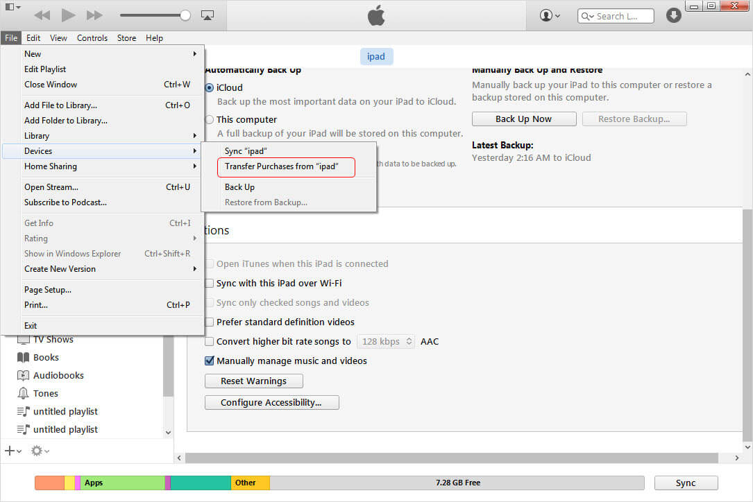 iTunes interface
