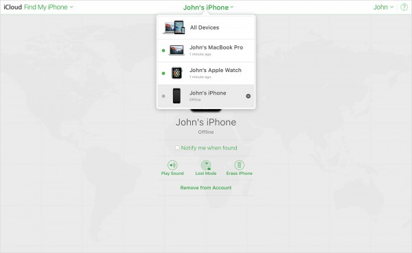 remove device from account from find my iphone e1542798610105