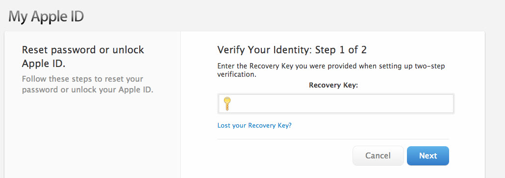 Reset iCloud password on two-factor authentication