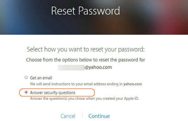 Recover iCloud password by answering the security questions