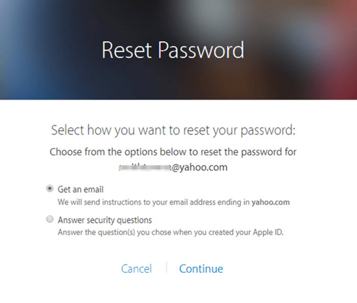 itunes username and password reset