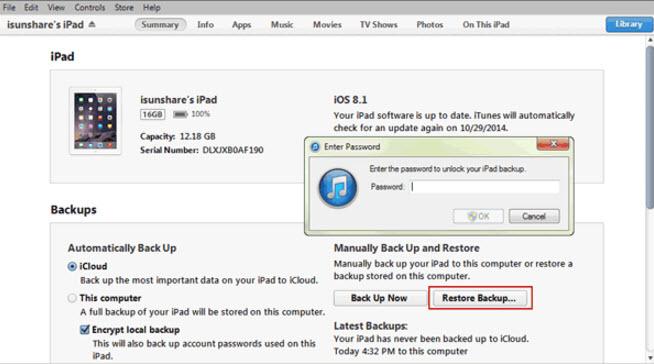 restore iTunes Backup