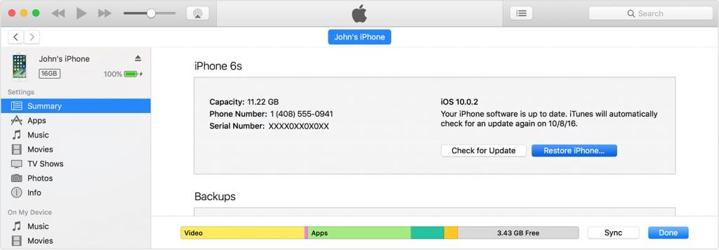 restore iTunes