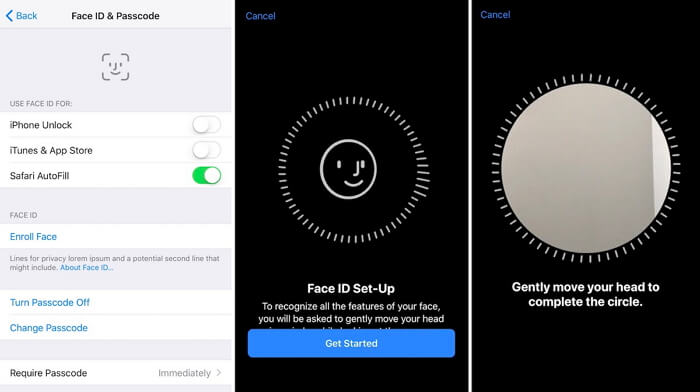 start to set up face id appearance