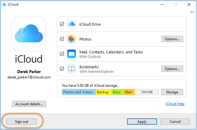 Sign out of iCloud on Windows