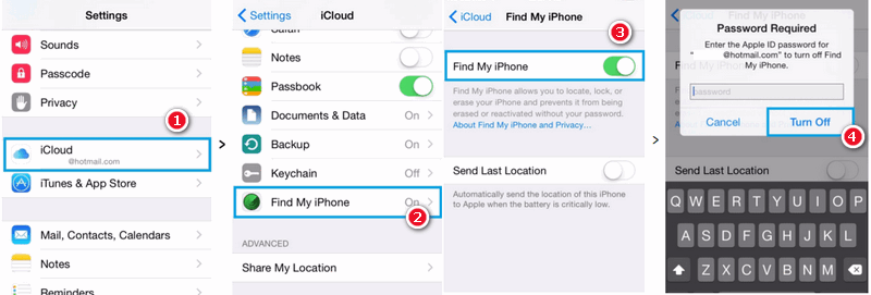 "disable ""Find My iPhone."""