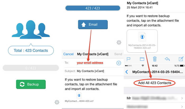 Transfer Contacts from iPhone to iPhone via VCF File